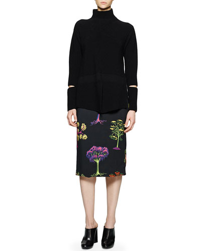 Open-Wrist Ribbed Turtleneck Sweater & Tree-Print Pencil Skirt
