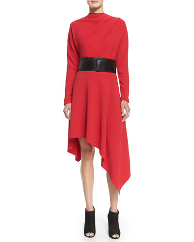 Asymmetric-Hem Cady Dress & Pipe-Trimmed Snap-Back Belt