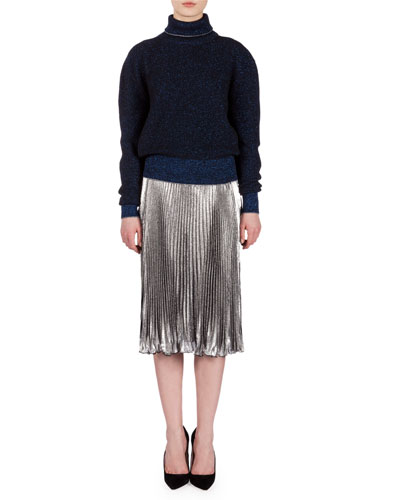 Long-Sleeve Metallic Ribbed Sweater & Lame Accordion-Pleated Skirt
