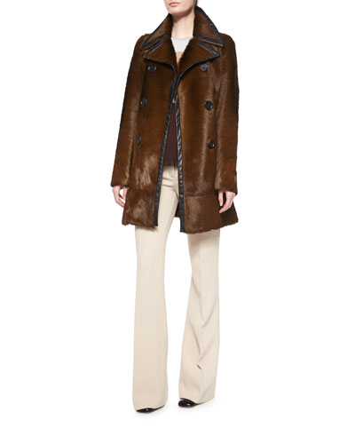 Double-Breasted Calf Fur Leather-Trim Coat, Sleeveless Colorblock Top & Shetland Flare-Leg Trousers