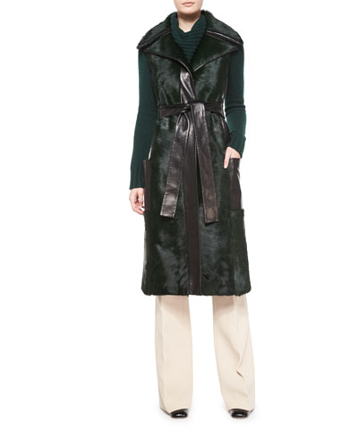 Sleeveless Calf Fur Leather-Trim Coat, Long-Sleeve Folded-Collar Sweater & Shetland Flare-Leg Trousers