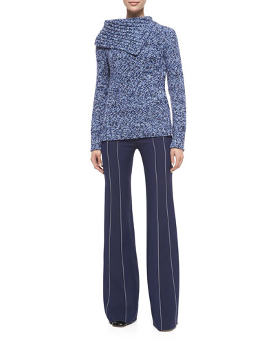 Cashmere Folded-Collar Sweater & Contrast-Seam Flare Trousers