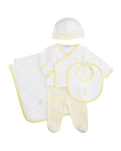 Fun and Games Footie Pajama Set, Baby Hat, Bib & Blanket, White/Yellow