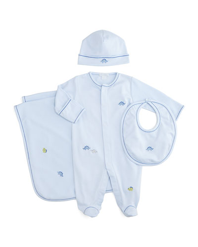 Scattered Dinosaur Pima Footie Pajamas, Baby Hat, Bib & Blanket, Light Blue