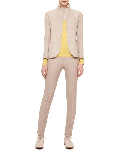 Double-Faced Reversible Jacket, Cashmere-Blend V-Neck Top & Melissa Stretch Flannel Pleated Slim Pants