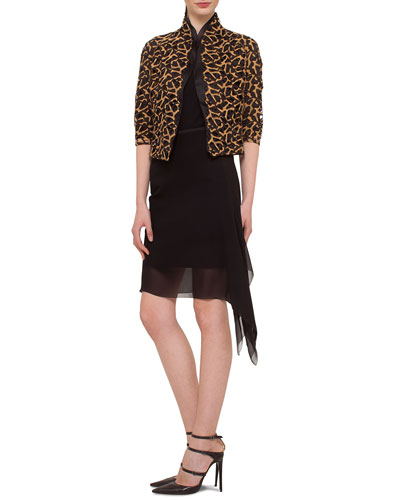Abstract Shimmer Lace Jacket, Scoop-Neck Silk Georgette Tank & Asymmetric Overlay Georgette Skirt