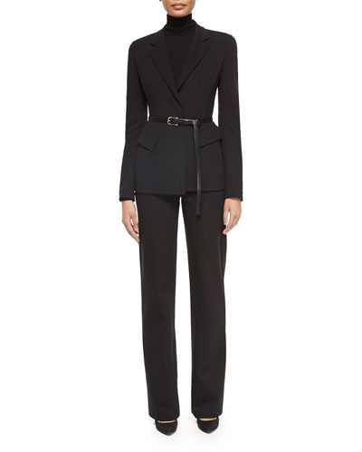 Belted Peplum Notched-Lapel Jacket, Long-Sleeve Jersey Turtleneck Top & Pull-On Wide-Leg Trouser