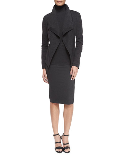 Long-Sleeve Molded Cardigan Jacket, Sheer-Sleeve Jersey Turtleneck & Structured Knit Pencil Skirt