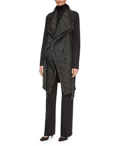 Belted Tweed Combo Wrap Coat, Long-Sleeve Jersey Turtleneck Top & Pull-On Wide-Leg Trouser