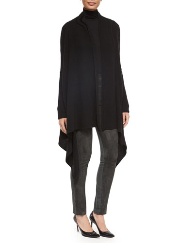 Double-Faced Cashmere Ribbed Cozy, Long-Sleeve Jersey Turtleneck Top & Suede Paneled Skinny Pants