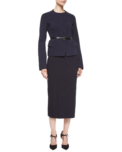 Long-Sleeve Tailored Jacket W/Belt & High-Waist Midi Skirt