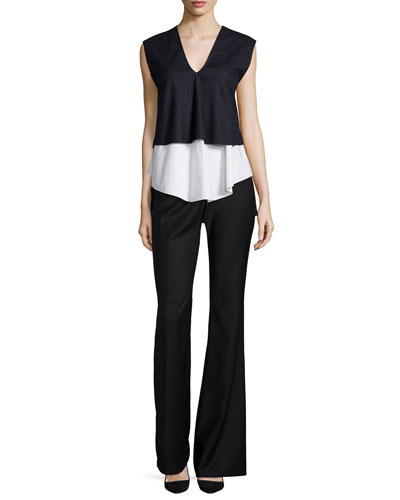 Tiered Pinstripe V-Neck Top & High-Waist Flare Pants