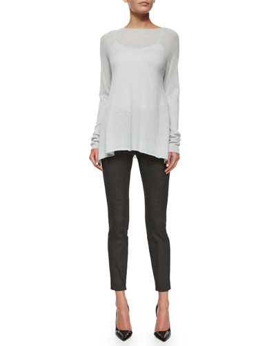 Banny Cashmere-Silk Tissue Sweater & Tiendra Tweed Ankle-Zip Pants