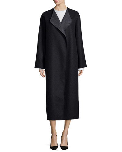 Augustus Melange Robe Coat, Toce Satin Raw Seam Top & Ricela Satin Raw Seam Midi Skirt