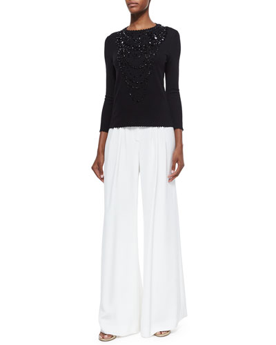Jewel-Embellished Scallop-Trimmed Top & Wide-Leg Silk Pants