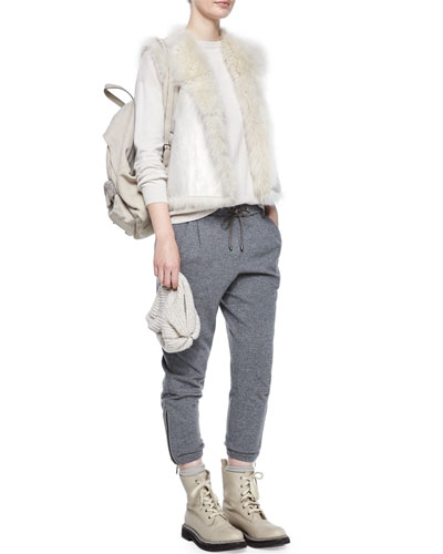 Open-Front Reversible Fur Vest, Long-Sleeve Monili-Chain Sweater, Cashmere-Blend Monili-Cuff Drawstring Jogger Pants & Accessories