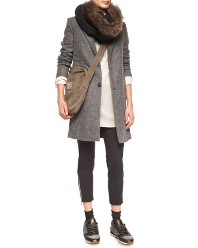 Double-Button Top Coat/Vest, Ribbed Layered Turtleneck Tunic, Monili Ankle-Zip Trousers & Accessories