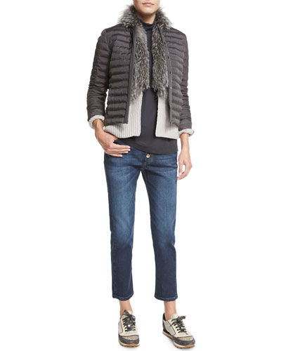 Quilted Jacket W/Monili-Chain Trim, Cashmere Cardigan W/Fox-Fur Collar, Matte Silk Turtleneck Top & Mid-Rise Exposed-Fly Cropped Jeans
