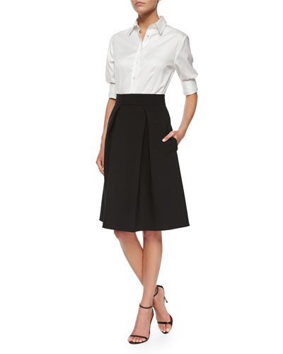 Classic Pique Button Blouse & Double-Faced Box-Pleated Party Skirt
