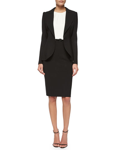 Peaked-Sleeve One-Button Blazer & Two-Tone Pintucked Combo Dress