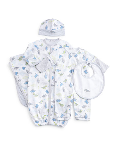 Dynamic Dinos Pima Sleep Gown, Coverall, Bib & Baby Hat