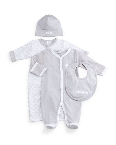 Baby Elephants Pima Coverall, Footie Pajamas, Bib & Baby Hat, Gray/White