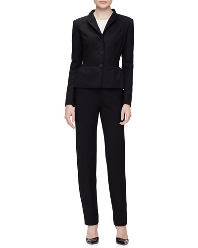 Stand-Collar Peplum Jacket, Short-Sleeve Pleated-Front Top & Clean-Front Pintuck Skinny Pants