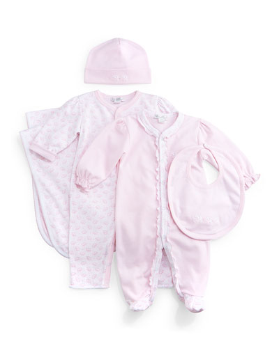 Baby Elephants Pima Coverall, Footie Pajamas, Bib, Baby Hat & Blanket, Pink/White