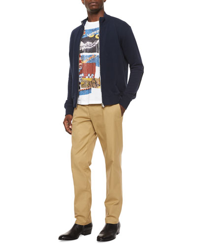Knit Zip-Up Sweatshirt with Elbow Patches, Multi-Print Graphic Crewneck Tee & Twill Straight-Leg Chino Pants