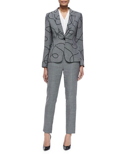 Swirl End-on-End Blazer, V-Neck Cap-Sleeve Silk Shell & Tina End-on-End Slim-Leg Pants