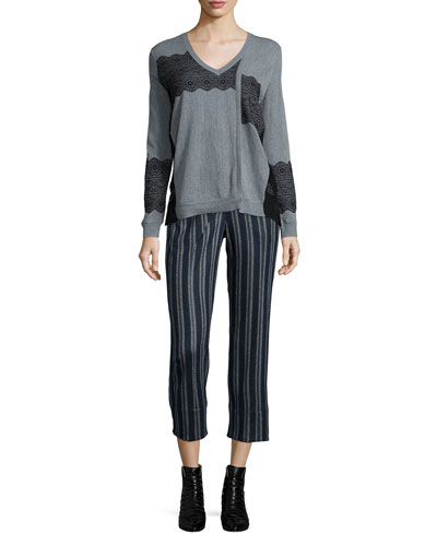 Lace-Trim V-Neck Pullover Sweater & Cross-Front Striped Ankle Pants