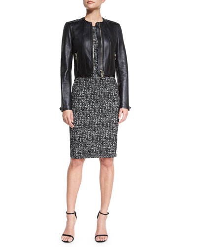 Paneled Cropped Leather Jacket & Shift Dress W/French Darts