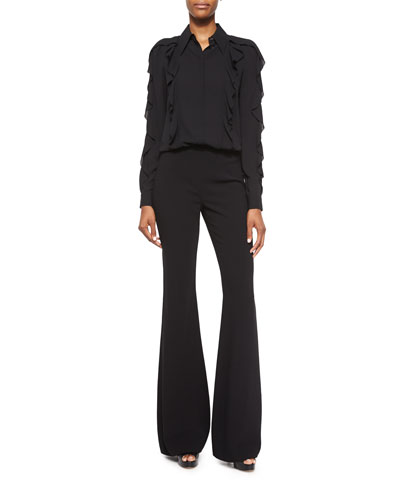 Long-Sleeve Allover Ruffle Blouse & High-Waist Flared Wool Pants