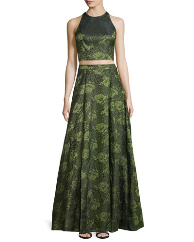 Sleeveless Floral Jacquard Crop Top & Floral Jacquard High-Low Skirt