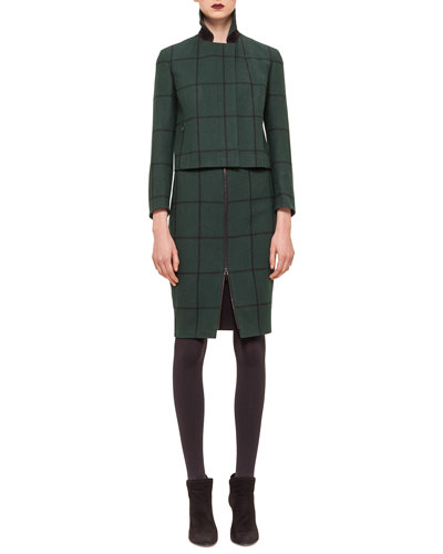 Checked Woven Short Jacket, Modal Jersey Turtleneck Top & Zip-Front Checked Pencil Skirt
