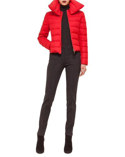 Hooded Stripe-Quilted Short Puffer Coat, Mara Skinny Knit Pants & Mara Skinny Knit Pants