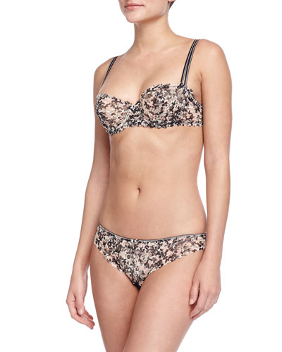 Merci Liberty-Print Demi Bra & Tanga Panties