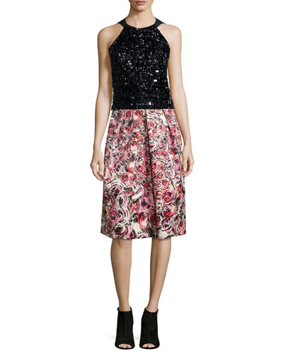 Sleeveless Beaded Halter Top & Floral Jacquard Midi Skirt