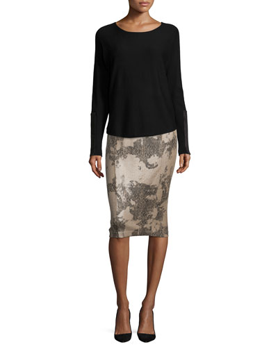 Jersey Suede-Patch-Sleeve Top & Snake-Print Slim Pencil Skirt
