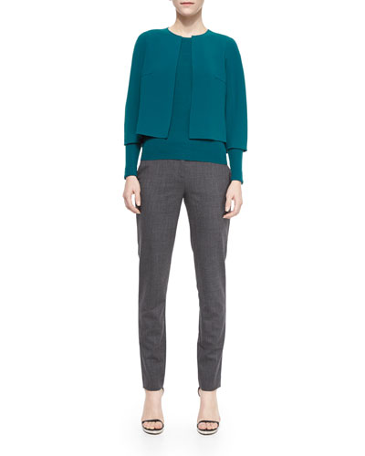 Cropped Stretch-Wool Crewneck Jacket, Long-Sleeve Ribbed Cashmere Sweater & Skinny Woven Ankle Pants