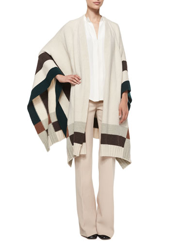 Colorblock Cape Poncho & Shetland Flare-Leg Trousers