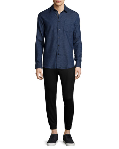 Solid Long-Sleeve Beach Shirt & Slim-Fit Stretch Jogger Pants