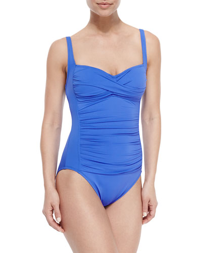 Mio Ruched Sweetheart One-Piece Swimsuit, Periwinkle