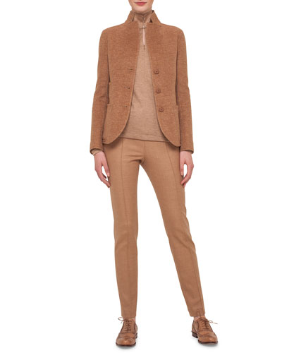 Long-Sleeve Button-Front Cashmere Jacket, Ruched-Sleeve Mock-Neck Top & Melissa Stretch Flannel Pleated Slim Pants