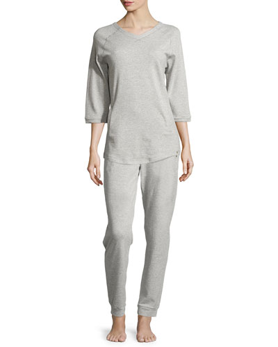 Yoga Fashion 3/4-Sleeve V-Neck Sweatshirt & Drawstring Pants