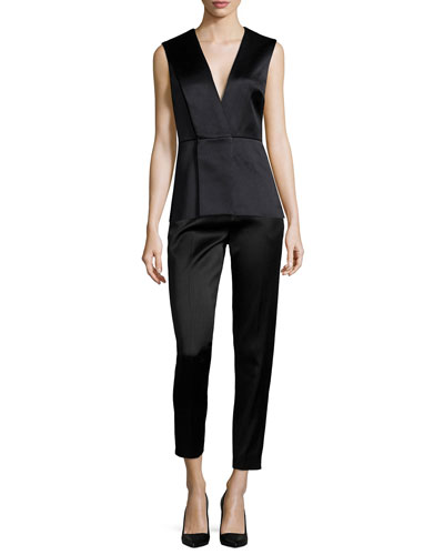 V-Neck Origami Peplum Top & High-Waisted Sateen Slim Pants