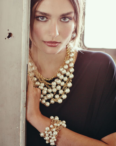 Multi-Strand Simulated Pearl Necklace & Bracelet