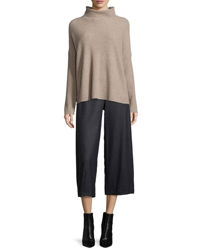 Boxy Funnel-Neck Cashmere Sweater & Heathered Stretch-Flannel Lantern Pants