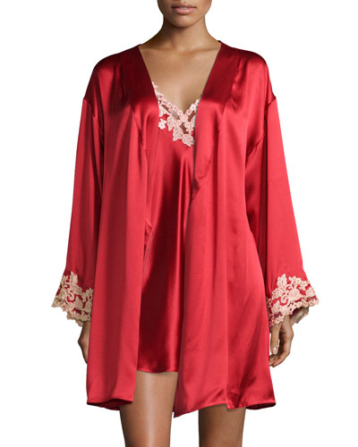 Maison Lace-Trim Short Robe & Chemise