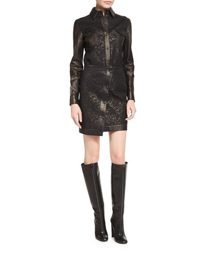 Lace/Leather Western Shirt & Asymmetric Mini Skirt